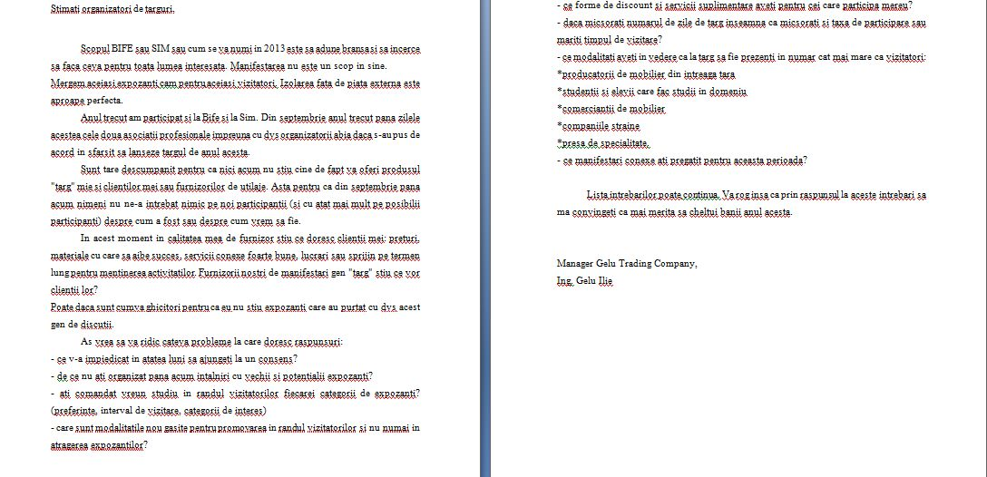 Scrisoare catre APMR si ROMEXPO- Targul BIFE-SIM2013