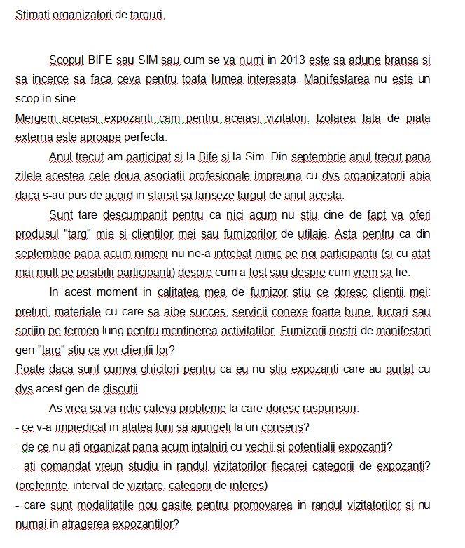 Targul BIFE-SIM 2013 Scrisoare catre APMR si ROMEXPO1