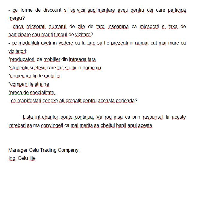 Targul BIFE-SIM 2013 Scrisoare catre APMR si ROMEXPO2